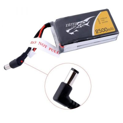 Tattu 2500mAh 2S 7.4V replacement lipo battery pack with DC5.5mm plug for Fatshark Goggles